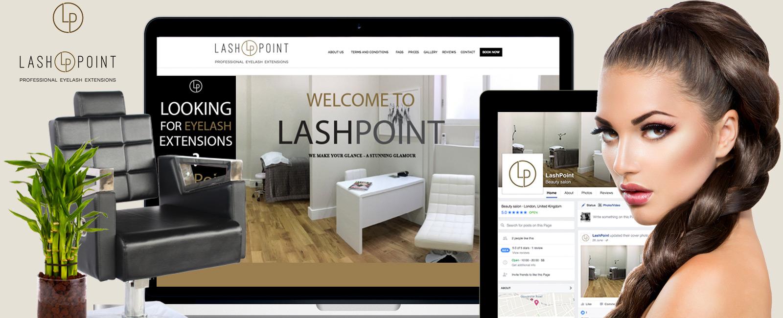 Ami Perera Work portfolio Lash Point London web and branding